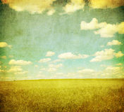 Grunge Bild des grünen Feldes und des blauen Himmels Lizenzfreie Stockfotografie