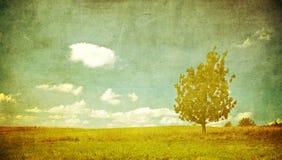 Grunge Bild eines Baums auf einem Weinlesepapier Stockbild