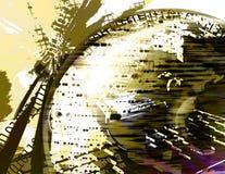 Grunge binary earth globe ( yellow ) vector illustration