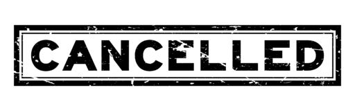 Grunge black cancelled word square rubber stamp on white background royalty free illustration