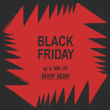 Grunge Black Friday. Sale banner red color angles bright jaws teeth abstract vector. Stock Photo
