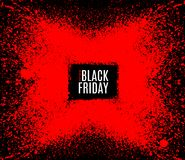 Grunge Black Friday sale stamp. Modern design with black and red ink splash, brushes ink droplets, blots. Red on dark background. Vector grunge frame with Stock Photos