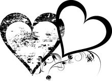 Grunge,black heart. With place for text Stock Images
