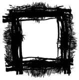 Grunge black ink border frame background, grunge paint brush Stock Image