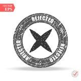 Grunge black rejected round rubber seal stamp on white background vector illustration