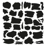 Grunge black rough brush strokes vector set. Abstract brush rough black, illustration of stroke brush collection Royalty Free Stock Images