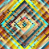 Grunge black triangles pattern on yellow symmetric Stock Photography