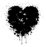 Grunge black vector heart with paint drips. Grunge Vector black abstract heart with paint drips . Graffiti heart Stock Photography