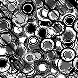 Grunge black and white background with round shapes Stock Image