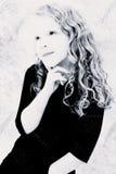 Grunge Black and White of Girl Child Thinking stock photo