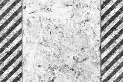 Grunge Black and White Pattern with Warning Stripe. Old Metal Textured Royalty Free Stock Photography