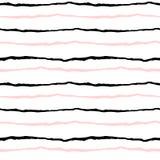 Grunge black white pink stripes seamless pattern background illustration Royalty Free Stock Images