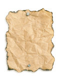 Grunge blank notice. Grunge paper nailed to white background stock images