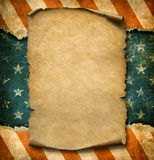 Grunge blank paper declaration over USA flag independence day template 3d illustration. Grunge blank paper parchment over USA flag independence day template Royalty Free Stock Photos
