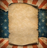 Grunge blank paper parchment or declaration over USA flag independence day template 3d illustration. Grunge blank paper declaration over USA flag independence Royalty Free Stock Image