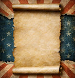 Grunge blank paper scroll over USA flag independence day template 3d illustration Royalty Free Stock Photo
