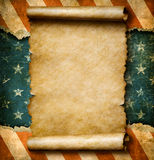 Grunge blank paper scroll or parchment over USA flag independence day template 3d illustration. Grunge blank paper scroll or parchment over USA flag independence Royalty Free Stock Photo