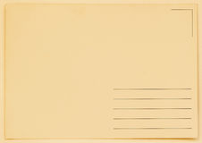Grunge blank postcard. Backside. Paper texture. With place your text, background use Royalty Free Stock Photography