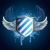 Grunge blaues Schildemblem Stockbild