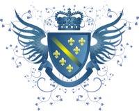 Grunge blaues Wappen mit Fleur-de-lis Stockfoto