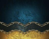 Grunge blauwe achtergrond met een zwart lint met gouden patroon Element voor ontwerp Malplaatje voor ontwerp exemplaarruimte voor Royalty-vrije Stock Fotografie