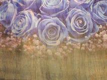 Grunge blauwe rozen Stock Foto