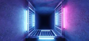 Grunge bleu rougeoyant au néon de tunnel de couloir de construction métallique de rectangle de rose de pointe moderne étranger él illustration stock