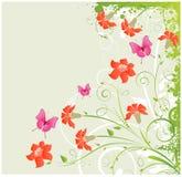 Grunge bloemenhoek stock illustratie