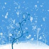 Grunge blommablue vektor illustrationer