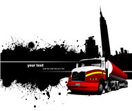 Grunge blot banner with town and truck images Stock Photography
