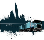 Grunge blot banner with town and truck images Royalty Free Stock Photo