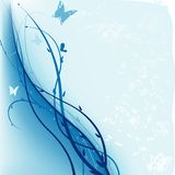 Grunge blu floreale Fotografie Stock Libere da Diritti