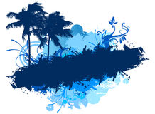 Grunge blue beach palms Royalty Free Stock Photos