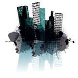 Grunge blue city Stock Photos