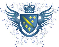 Grunge blue coat of arms with Fleur-de-lis Stock Photo