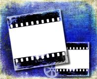 Grunge blue film strip frame. Background Royalty Free Stock Photo