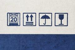 Grunge blue fragile symbol Stock Images