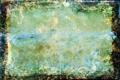Grunge blue-green background with swirl border stock illustration