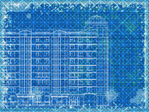Grunge blue horizontal architectural background Royalty Free Stock Photos