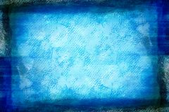 Grunge blue painted canvas. Dark faded blue painted sheet with spots and marks on canvas texture stock illustration