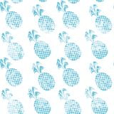 Grunge blue pineapples . Decorative pattern with grunge blue pineapples and texture Vector Illustration