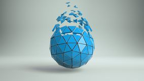 Grunge blue sphere and exploded polygons 3D rendering. Grunge blue sphere and exploded polygons. Abstract futuristic sci-fi concept. 3D rendering Stock Photos