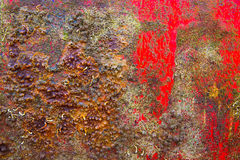 Grunge boat hull background in red and rusty Stock Images