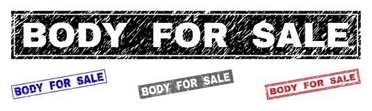 Grunge BODY FOR SALE Textured Rectangle Stamps vector illustration