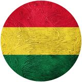 Grunge Bolivia flag. Bolivian button flag Isolated on white back Stock Photography