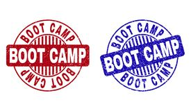 Grunge BOOT CAMP Scratched Round Stamps vector illustration