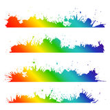 Grunge border with rainbow splashes and drops Royalty Free Stock Image