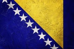 Grunge Bosnia and Herzegovina flag. Bosnian flag with grunge tex Royalty Free Stock Photos