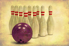 Grunge Bowling Ball and Pins Royalty Free Stock Photos