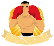 Grunge Boxe Banner. Illustration of a grunge vintage cartoon boxer banner to use for boxe and wrestling Stock Images